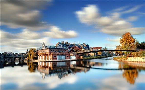 Wallpaper Bridges river town