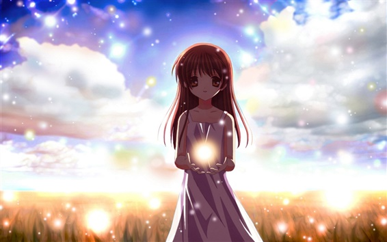 Wallpaper Cartoon girl holding a ball of light