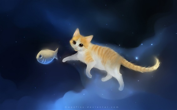 Wallpaper Cat chasing fish in the sky of painting