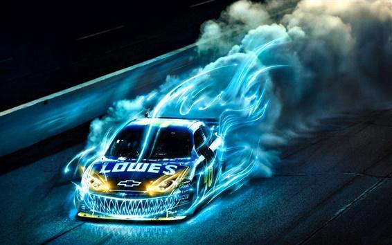 Wallpaper Chevrolet car blue light