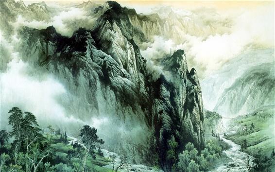 Обои Китайской живописи тушью гор и рек