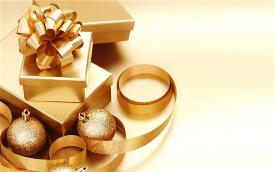 Wallpaper Christmas decorations golden theme