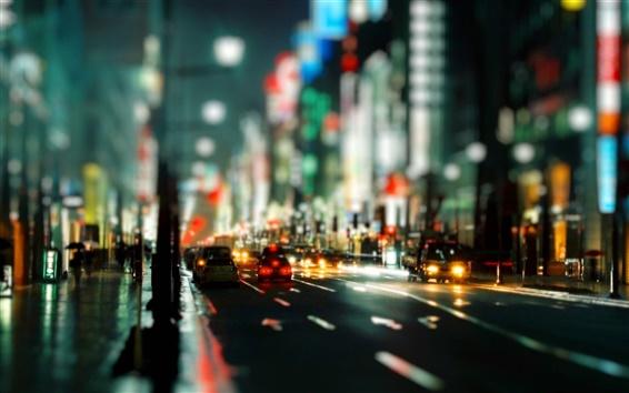 배경 화면 도시 야간 시내 도로 차량