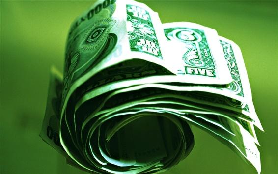 Wallpaper Close-up of green money