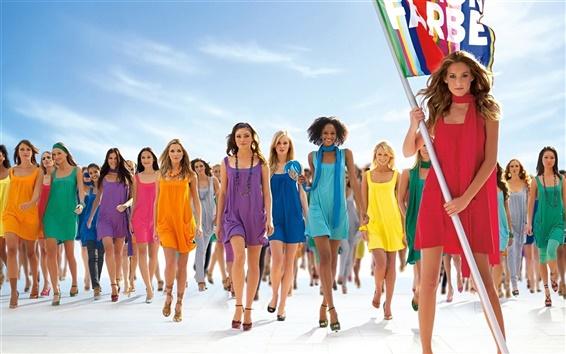 Wallpaper Colorful Summer Dress Fashion Show