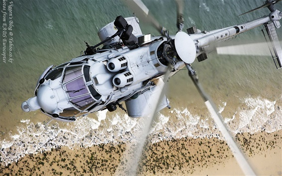 Wallpaper Eurocopter EC-725 helicopter blades flight