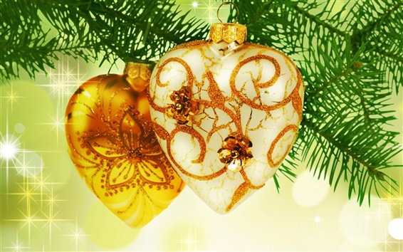 Wallpaper Gold heart-shaped Christmas ornament