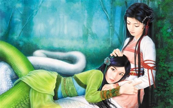 Fond d'écran Green Snake et fille serpent blanc
