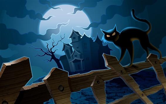 Wallpaper Halloween cat