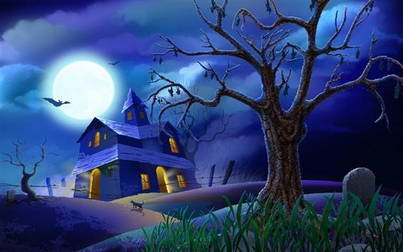Fond d'écran Halloween la nuit la lune