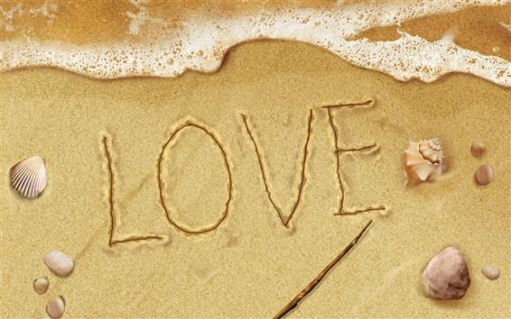 Обои Любовь символы на пляже