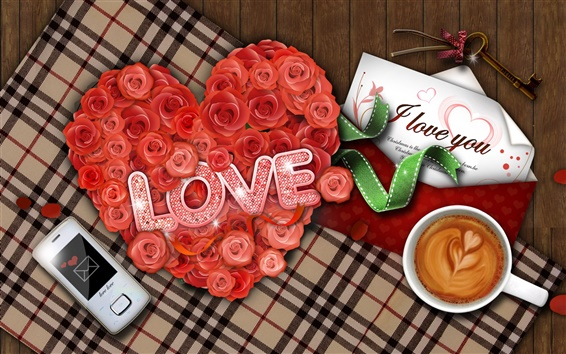 Wallpaper Love letters roses and coffee