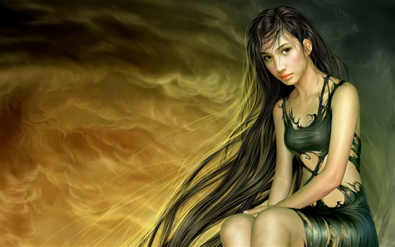 Wallpaper Oriental black girl sitting