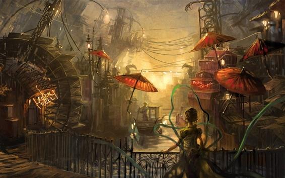 Fond d'écran Peinture de l'eau de ville