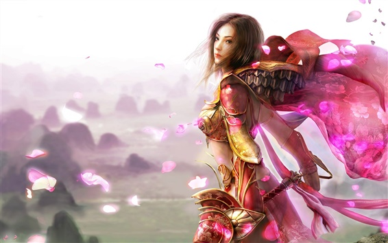 Wallpaper Red girl soldiers