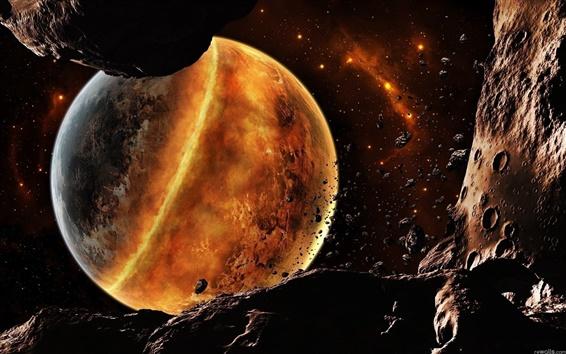 배경 화면 우주에서 붉은 행성