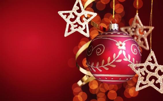壁紙 赤いクリスマスボールと星