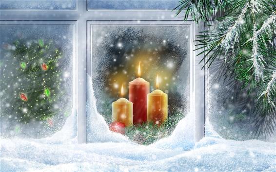 Fondos de pantalla Cálida luz de las velas de Navidad de nieve