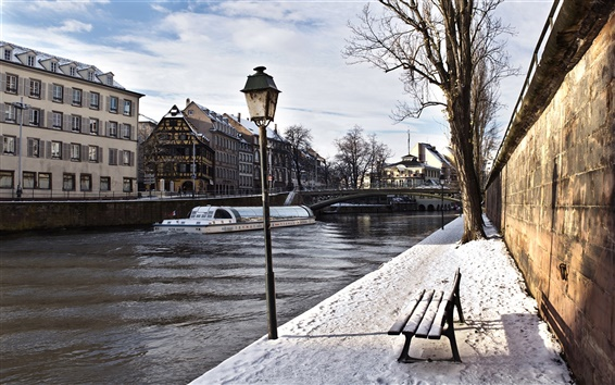Wallpaper Winter river lantern bench