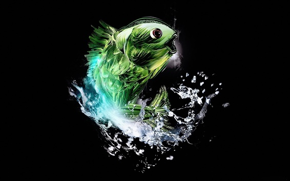 Abstract green fish Wallpaper Preview