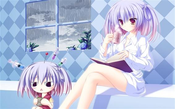 Wallpaper Anime girl drinking hot tea