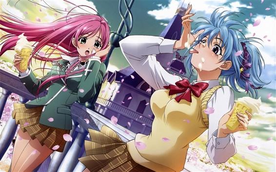 Fondos de pantalla Anime chica de la flor y nata de viento de hielo comer