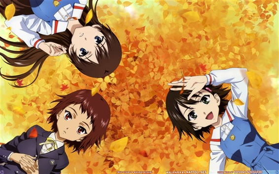 Wallpaper Anime girls in the autumn