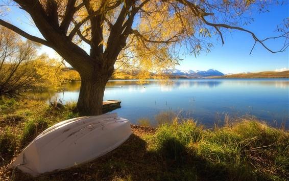 배경 화면 호수의 아름다운 가을