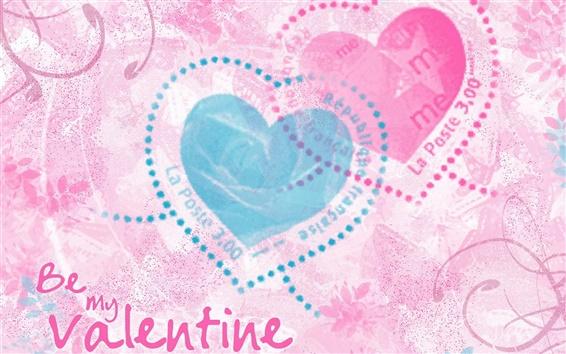 Fond d'écran Be my Valentine, deux coeurs d'amour