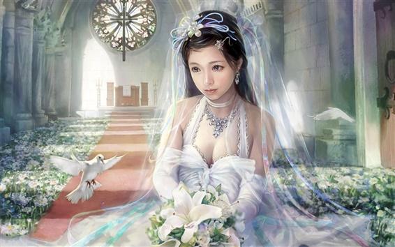 Обои Красивое белое свадебное платье фантазии девушки