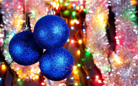 Wallpaper Blue Christmas balls and lights