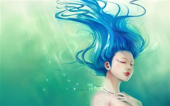 Обои Синие волосы развеваются фантазии девушки