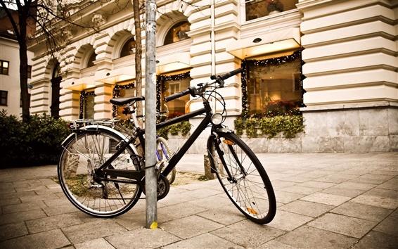 壁紙 市街路灯のバイク