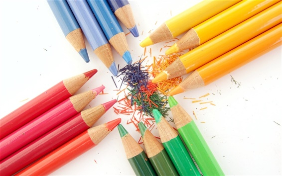 Wallpaper Colorful crayons close-up