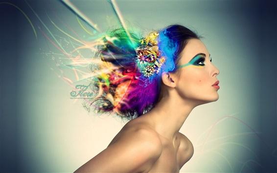 Wallpaper Colorful hair creative design