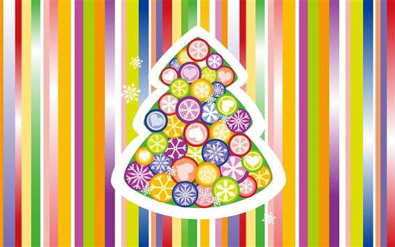 Wallpaper Colorful vector Christmas tree