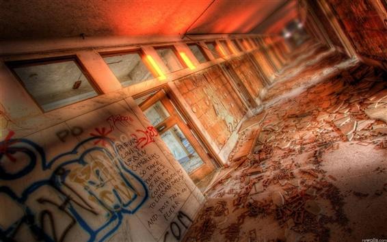 Fondos de pantalla Corredor de la pared de graffiti ruinas