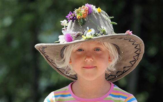 Papéis de Parede Verão bonito chapéu da menina