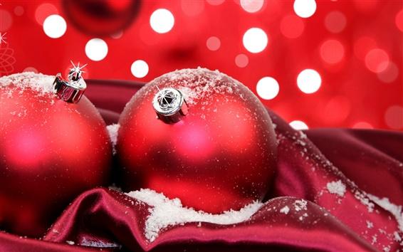 Обои Праздничный красные новогодние шары