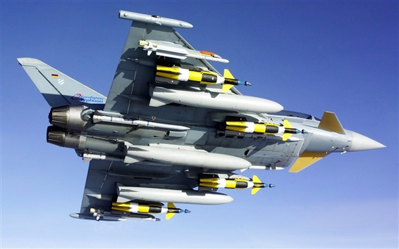 Wallpaper Fighter aircraft armed with missiles bottom view