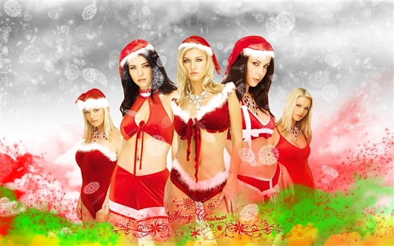 Wallpaper Five Christmas girls