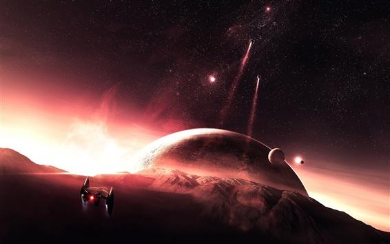 배경 화면 붉은 행성 플라이 투