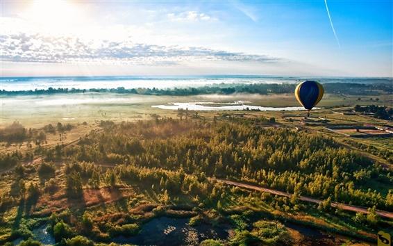 Wallpaper Forest road sky balloon