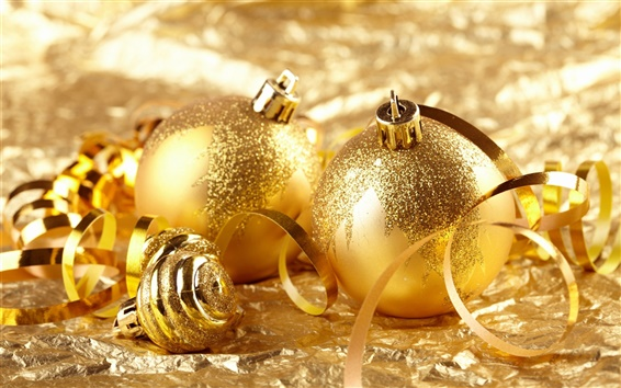 Wallpaper Gold ball Christmas decoration theme