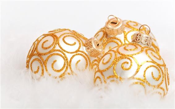 Wallpaper Gold decorative Christmas ball