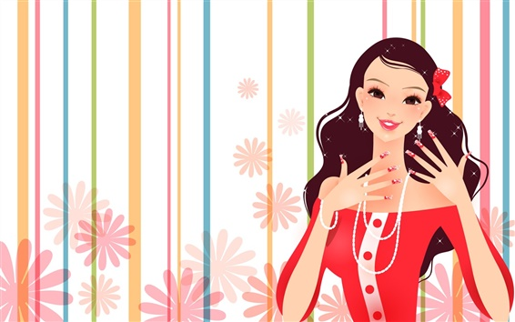 Wallpaper Gorgeous dress fashion girl vector