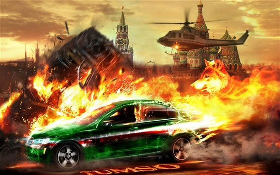 Wallpaper Helicopter chase car Kremlin