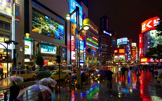 壁紙 日本の街雨の夜の通り