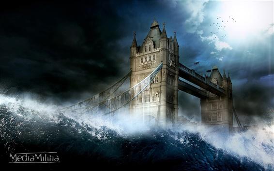 Papéis de Parede London Tower Bridge em imagens criativas água