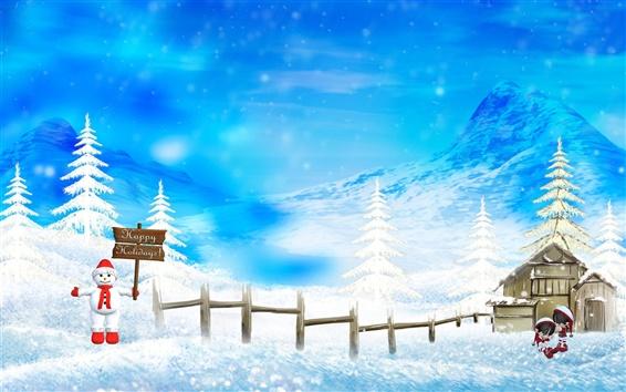 Wallpaper Merry Christmas beautiful snow scene